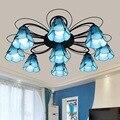 Европейский минималистичный Средиземноморский цветной стеклянный гостиной столовой синий потолочный светильник 679 голова 110-240 в современ...