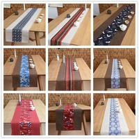 Ethnic Style Plant Flower Pattern Cotton Flax Table Runner Office Tea Ceremony Teaware Mat Home Table