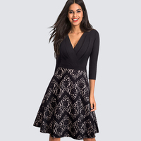 Sexy V Neck Floral Lace Patchwork Drapped Black Dress Women Vintage Casual Work Office Party Swing A line Dress HA074