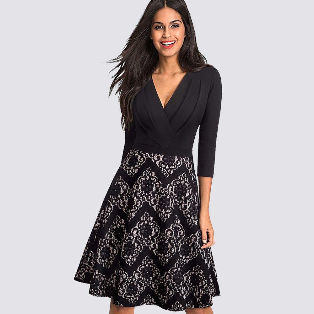 Сексуальный v-образный вырез с кружевами в стиле пэчворк, драпированная, Платье черного цвета Для женщин Винтаж Повседневное офисные вечерние свободное платье трапециевидной формы платье HA074