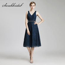 Cheap A-Line Mother of the Bride Dresses 2019 Knee Length Navy Blue Lace For Wedding Women Formal Evening Party Gowns OL514(China)