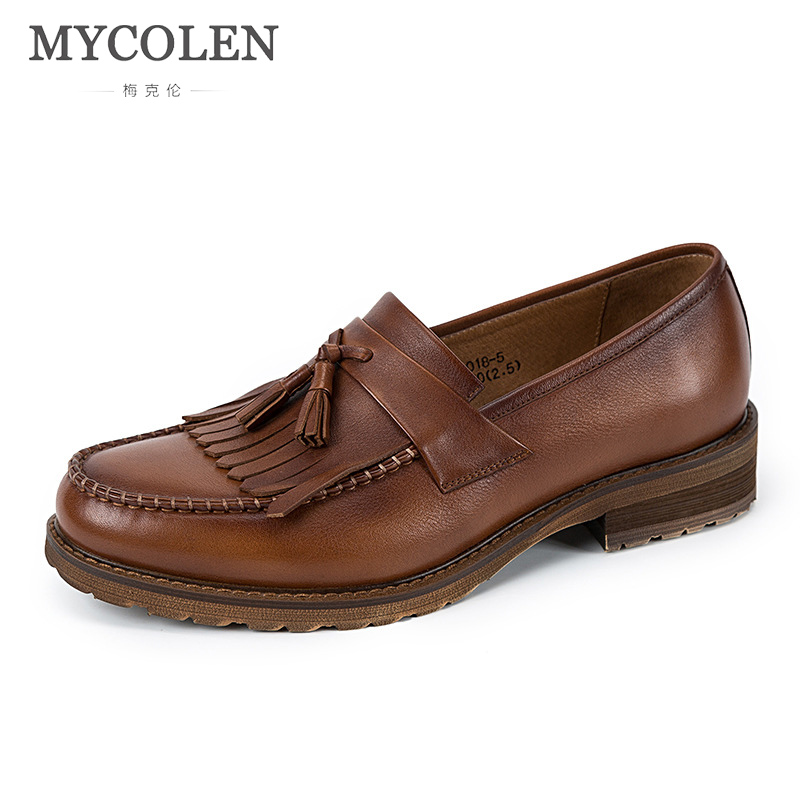 MYCOLEN Shoes Men Flats Genuine Leather Driving Shoes Spring/Autumn Style Soft Moccasins Men Loafers Boat Shoes High Quality mycolen brand fashion spring autumn style soft moccasins men loafers high quality genuine leather shoes men flats driving shoes