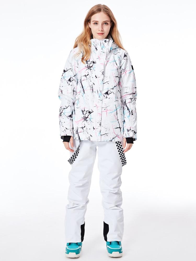 2019 Super Chaud Femmes Ski Veste Pantalon Ski Costume Coupe-Vent Imperméable À L'eau En Plein Air Sport Porter Épaississent Thermique Femelle Snowboard Costume