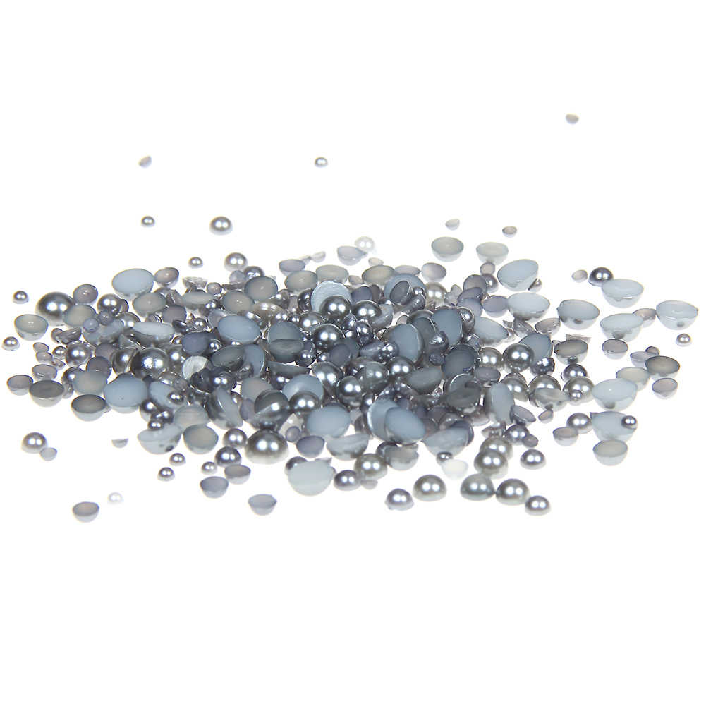 2-5mm And Mixed Sizes Dark Gray Resin Half Round Craft ABS Imitation Pearls Beads For 3D Nails Art Backpack Design Decorations