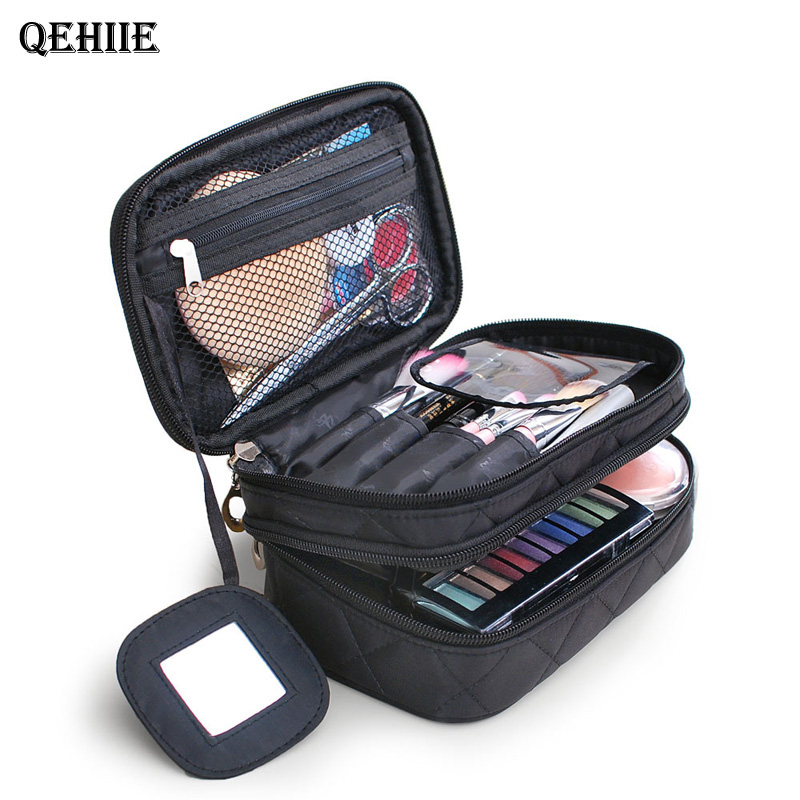 Brand Organizer Cosmetic Bag Double Waterproof Makeup Bag Travel Organizer Cosmetologist Case Multi-function Storage Bag QE128(China)
