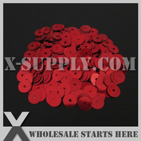 5mm Round Flat Loose Sequin Paillette For Shoe Bag Clothing Red Metallic Bulk Wholesale