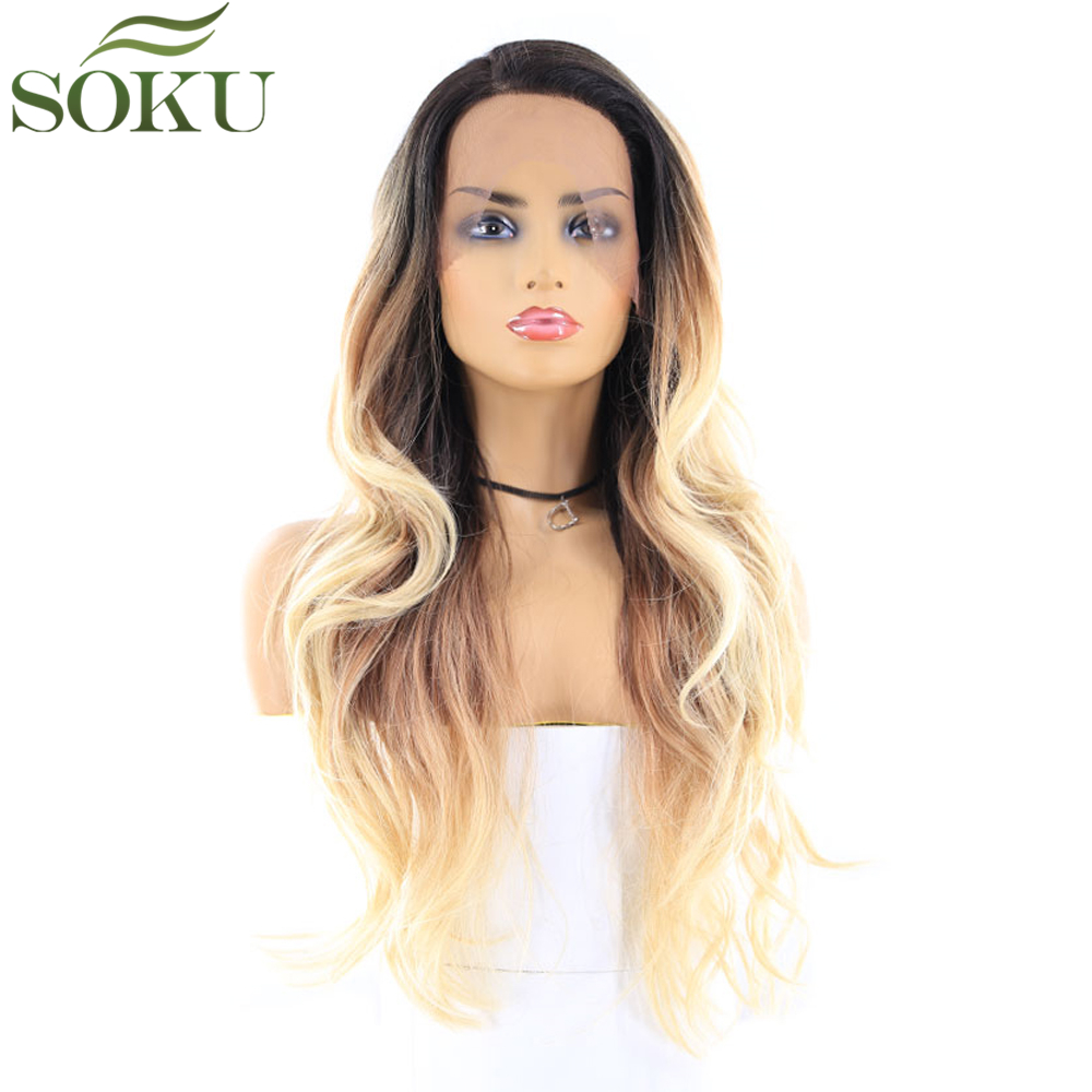 SOKU Wigs Glueless Lace-Front Synthetic Baby-Hair Heat-Resistant-Fiber Wavy Black Ombre-Color