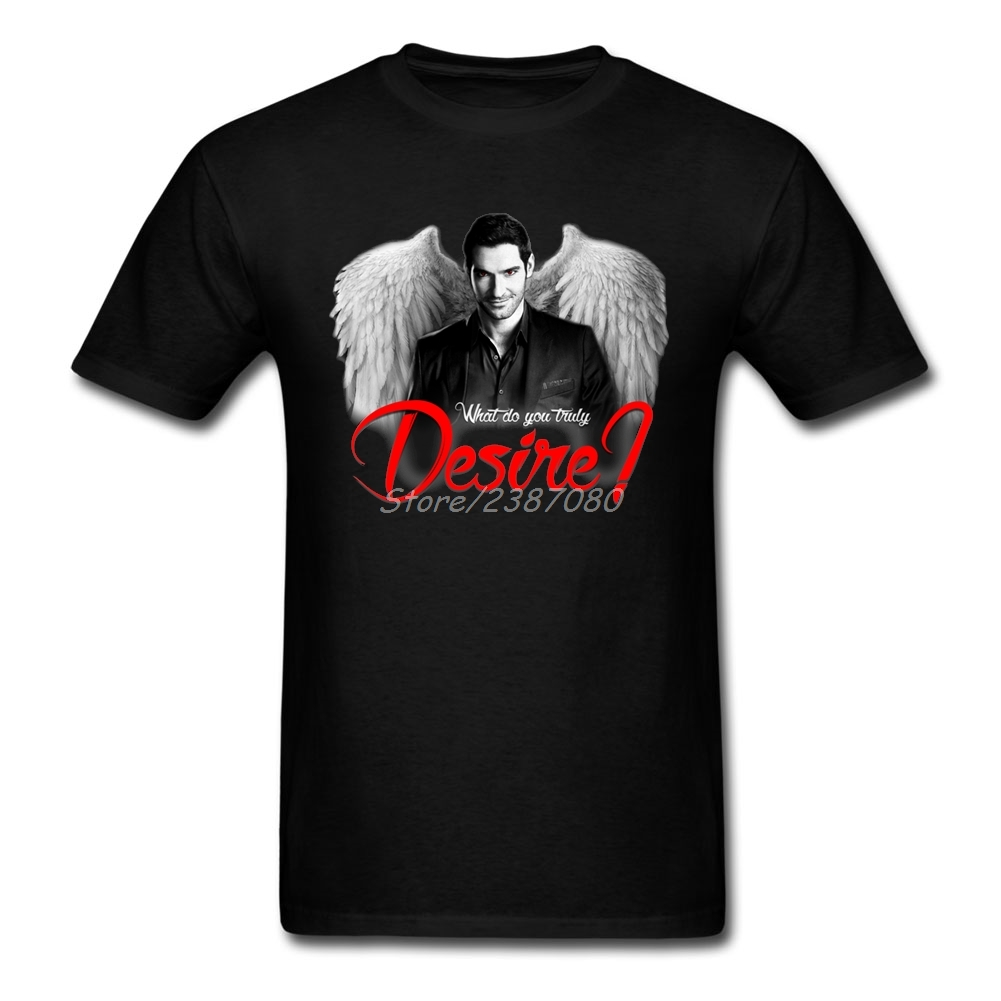 Lucifer Morningstar   T     Shirt   Couple's Cotton Crewneck 3XL Short Sleeve Custom What Do You Truly Desire   T     Shirts   For Boys