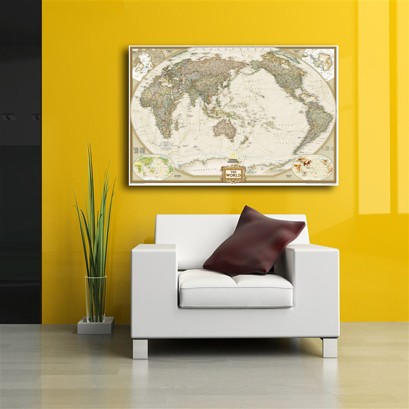 World Map Painting Canvas Prints No Frame Large Wall Art Europe ...