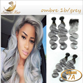 #1B/Gray grey hair weave ombre closure with bundles Brazilian Virgin Hair Body Wave Human Hair Weave 7A Unprocessed