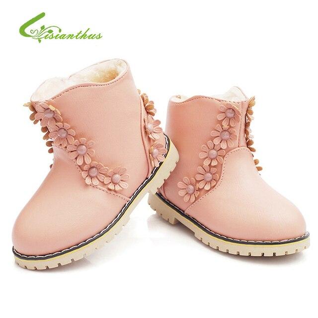Winter Children Shoes PU Antiskid Keep Warm Martin Boots Kids Snow Boots Girls Short Boots Rubber Decorate Flowers Pink Sneakers