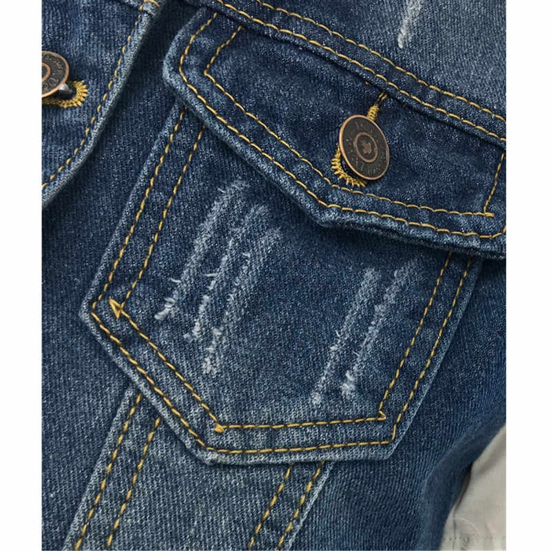 UHYTGF thời trang Mùa Hè Denim Jacket Denim Vest Womens Cộng Với kích thước 5XL Hoang Dã Ngắn đoạn Lỏng Nữ Màu Xanh Áo Vest Single-ngực 90