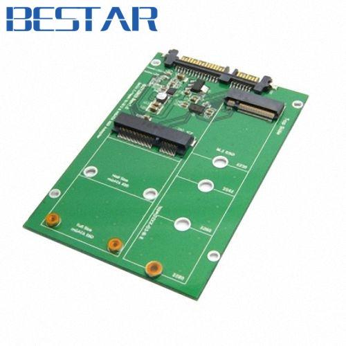 2 in 1 Combo Mini PCI- E 2 Lane M.2 NGFF & mSATA SSD to SATA 3.0 III Adapter Converter PCBA factory price mosunx 2 in 1 mini pci e 2 lane m 2 and msata ssd to sata iii 7 15 pin adapter drop shipping drop shipping