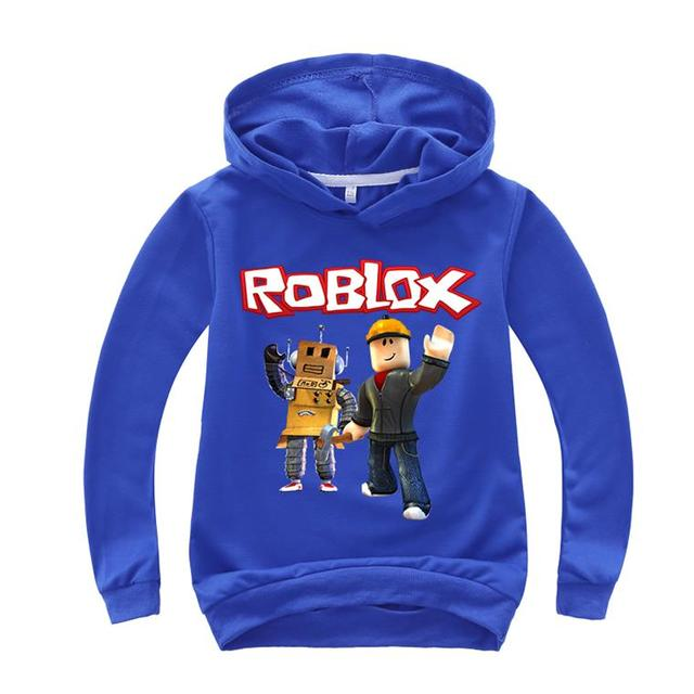 2019 New Kids Roblox Red Nose Day Pullover Hooded Sweatshirt Boys Girls Autumn Cotton T shirt Fashion Cartoon Tops 2-14y ROX1