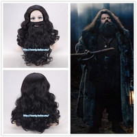 Harri Potter Rubeus Hagrid Cosplay Black Long Wavy Wig with Beard Rubeus Hagrid Role Play Costume Synthetic Hair Cosplay Wigs