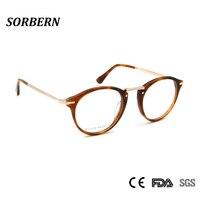 4cacb06a8 Female Acetate Eyeglasses Frames Men Vintage Round Optical Frame Glass  Women Spectacle Frame Male Occhiali Da. Homens Armações De Óculos ...