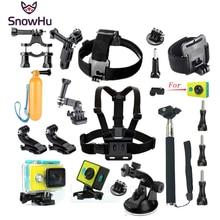 Accesorios Set Wateraproof SnowHu para Xiaomi Yi Funda Protectora Frontera Marco Cinturón de Pecho Monte Monopod Para Cámara GS47 Xiao yi
