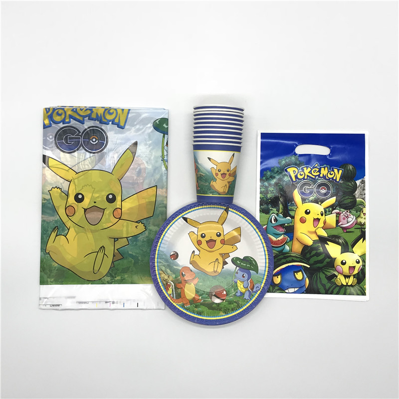 Hot Sale Pokemon Theme 31pcs Lot Paper Cup Plate Gift Bag Boy Girl Birthday Party Wedding Tablecloth Candy Decoration Supply