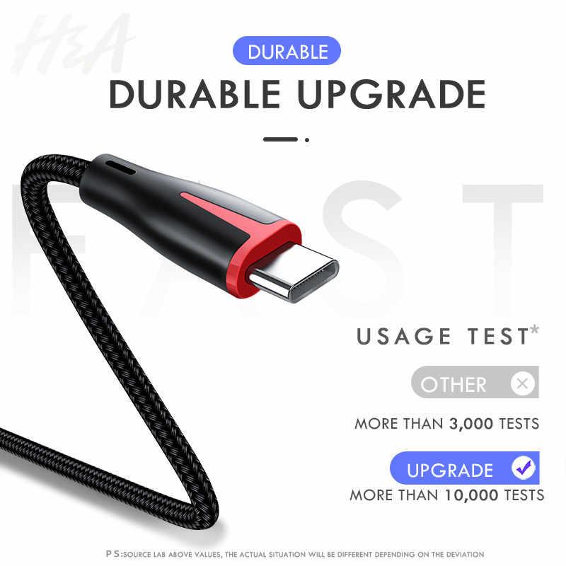 H & A kabel USB typu C 3A szybkiego ładowania typu C usb przewód ładowarki do Samsung S9 S8 plus Huawei Honor 10 9 lite tablet/telefon typu C