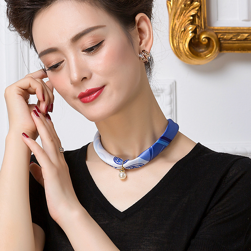 Luxury Chokers Necklaces Statement Jewelry Necklace Scarf For Women Silk Smooth Pearls Scarves Pendant Necklace Jewelry
