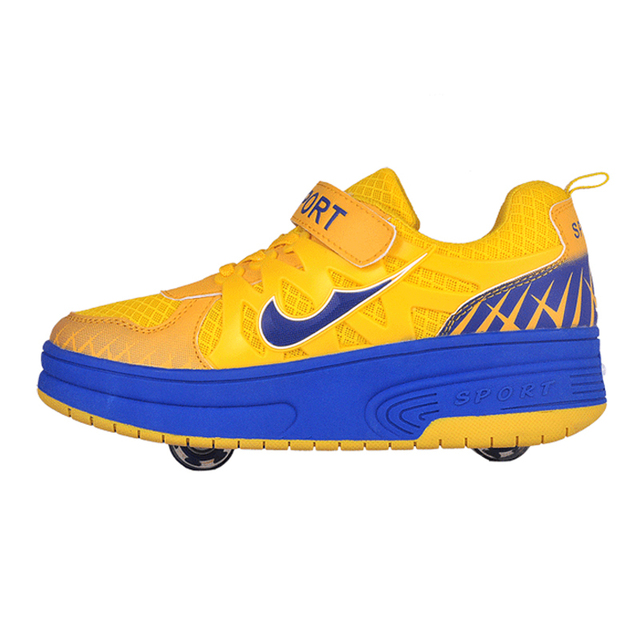 meilleur service d06b1 6bd12 US $34.86 |Hot 2015 NEW NK Heelys Roller Children Max Rosh Run Enfant Kids  Heelys Sneakers Chaussure Femme High Quality Double Wheel Shoes-in Sneakers  ...