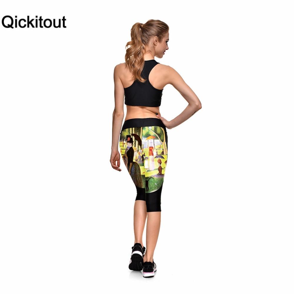 Qickitout Capri Pants 2016 New Arrival Womens 7 Point Pants Rain Umbrella Digital Print Women High Waist Side Pocket Phone Pants