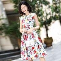 Customized New Arrival Floral Print Sleeveless A Line Dress 2018 Spring Summer Fashion Women's Elegant Slim Mid Calf Dresses