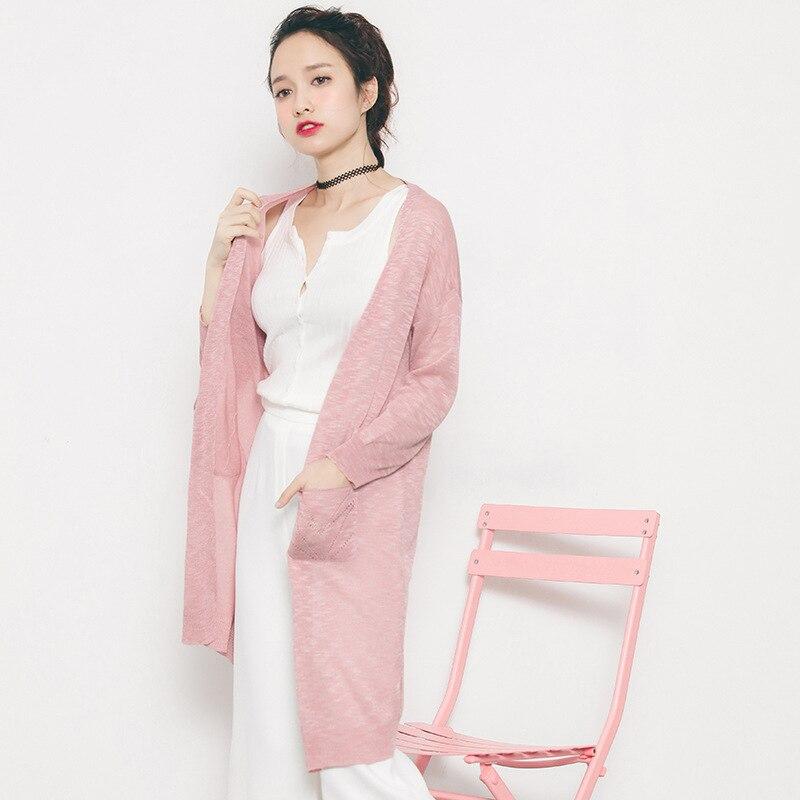 2017 Primavera Y el Verano Nueva Versión Coreana Delgada Larga de Punto Suéter d