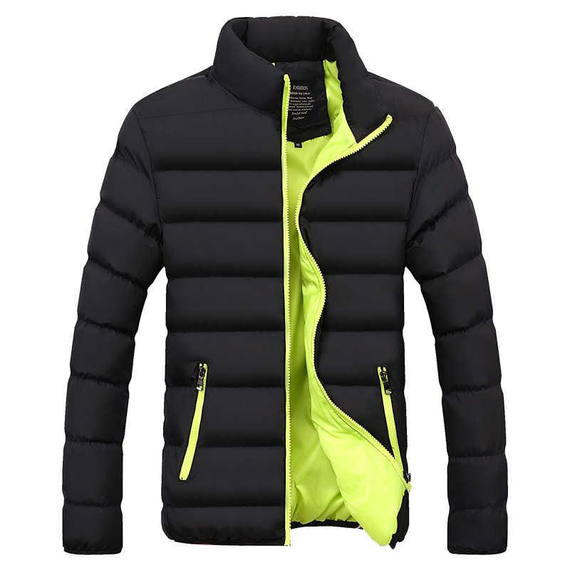 新メンズウインドブレーカー固体冬のジャケットの男性パーカー男性熱コートスリムフィット厚く暖かい男性のコートブランド服 5XL