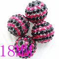 50pcs/bag Cheap Wholesale Black/Red Round Striped Resin Rhinestone Beads Halloween Beads for Kids Chunky Necklace DIY Jewelry