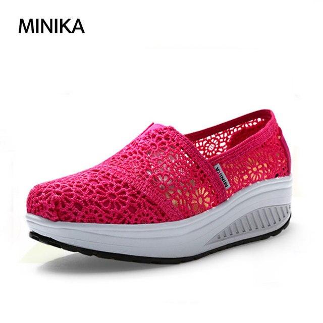 Minika Chaussures Femme Ete 2017 Women Tenis Sneakers Women Hollow Yarn  Walking Shoes Wedge Height Increase