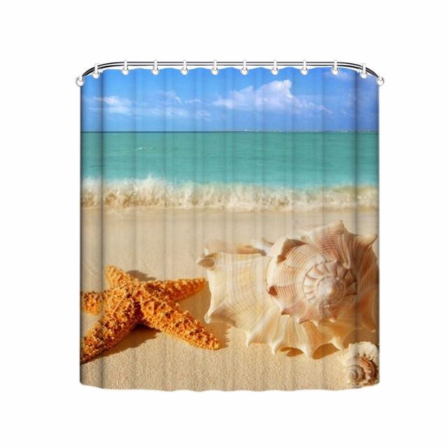 Modern Beach Shower Curtains Starfish Shell Bathroom Curtain Waterproof Fabric Home Decor Product