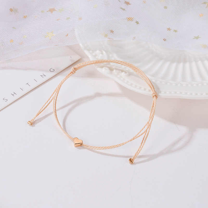 Handgemaakte Koreaanse Beige Touw Armband Mannen Verstelbare Minimalistische String Hart Armband Vrouwen Sieraden