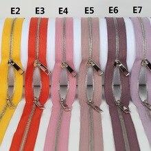 Sivler-Zipper Orange Pink Double-Sliders Golden Yellow Fuchsia Roll-10-Yards-A-Lot Purple