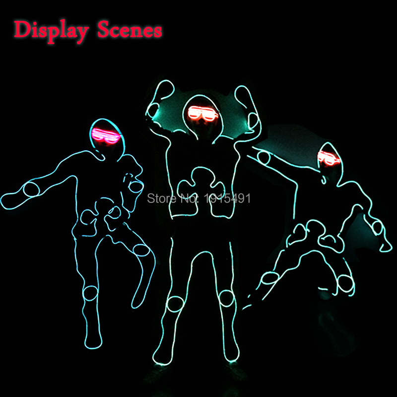 New Arrival Colorful Neon Led Bulbs Melbourne Shuffle Dance Costume Night Lamp EL Wire Bright Ghost Step Suit for Concert Party