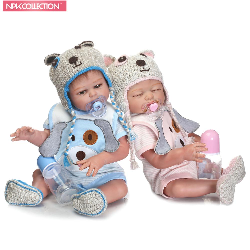 Здесь можно купить  NPK 50cm Reborn Doll Full Body Silicone Lifelike Baby-Reborn Boy&Girl Doll With Cute Knitted Hat Special Gift For Baby   Игрушки и Хобби