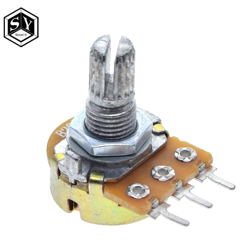 1pcs WH148 Linear Potentiometer 15mm Shaft With Nuts And Washers 3pin WH148 B1K B2K B5K B10K B20K B50K B100K B250K B500K B1M