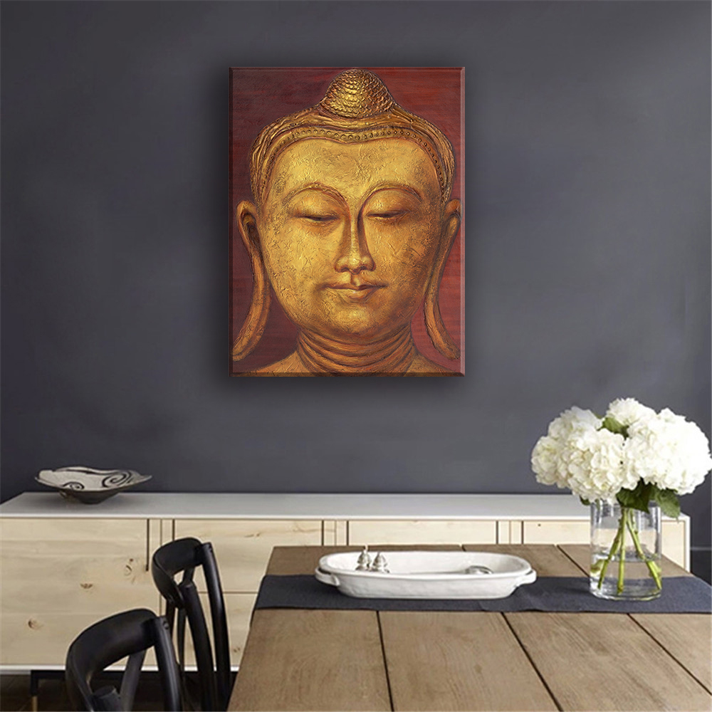 Framelessoil Paintings Canvas Colorful Buddha Sitting Wall: Buddha Face Painting Reviews