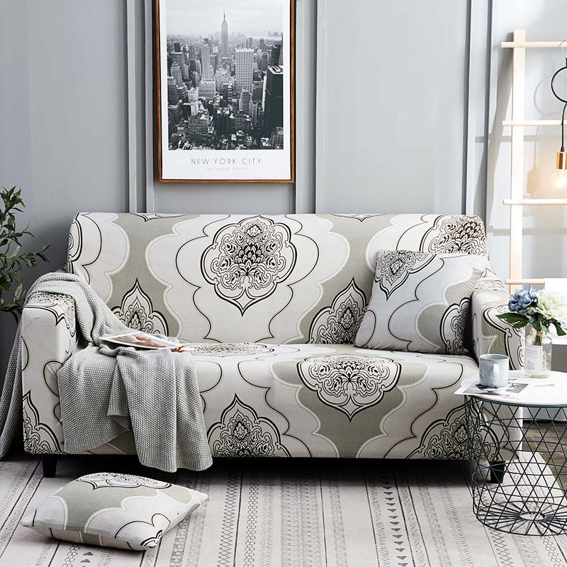 1pc Leaf and Flower Printed Sofa Cover Made of Polyester and Spandex Fabric for L Shaped and Corner Sofa 4