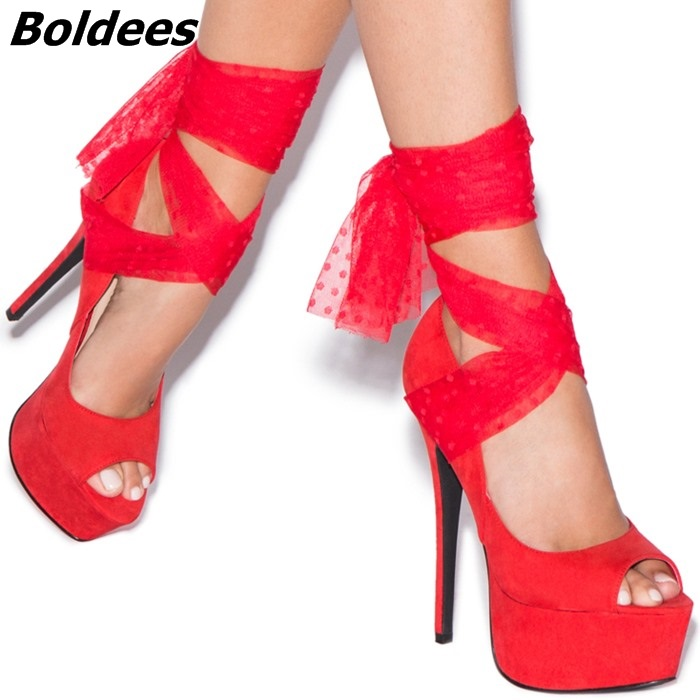 Glamorous Red Suede Peep Toe Stiletto Heel Pumps Women Classy Mesh Tied Butterfly-knot Platform Heels Party Wedding Dress ShoesGlamorous Red Suede Peep Toe Stiletto Heel Pumps Women Classy Mesh Tied Butterfly-knot Platform Heels Party Wedding Dress Shoes