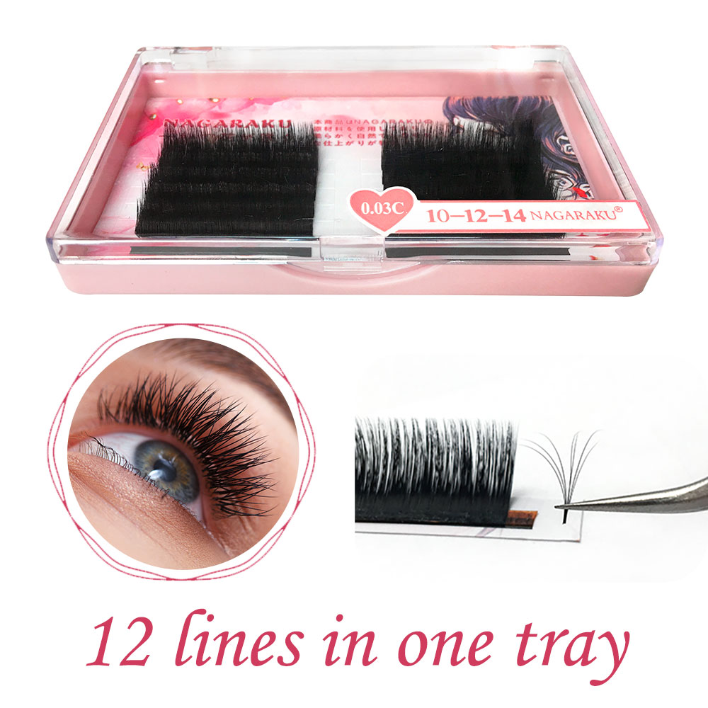 c1a2bc5ef57 NAGARAKU Eyelash Extensions Auto fans eyelash Easy to fan lash 0.03mm Mixed  Length Faux Mink Eyelash Russian volume soft lash-in False Eyelashes from  Beauty ...
