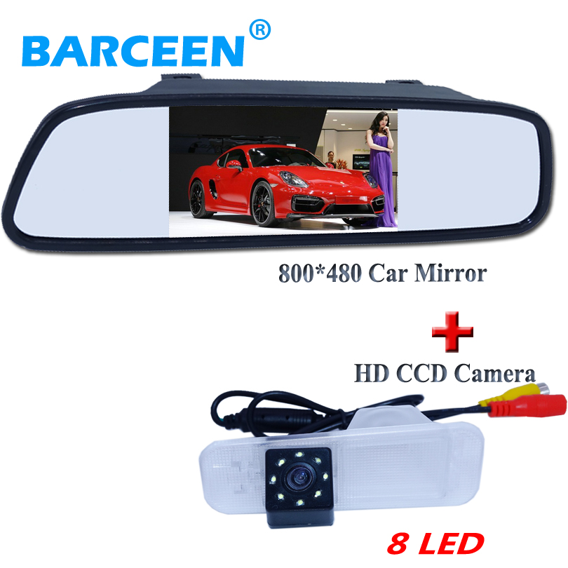 High night vision car rear view camera with hd lcd 4 3 car parking mirror fit