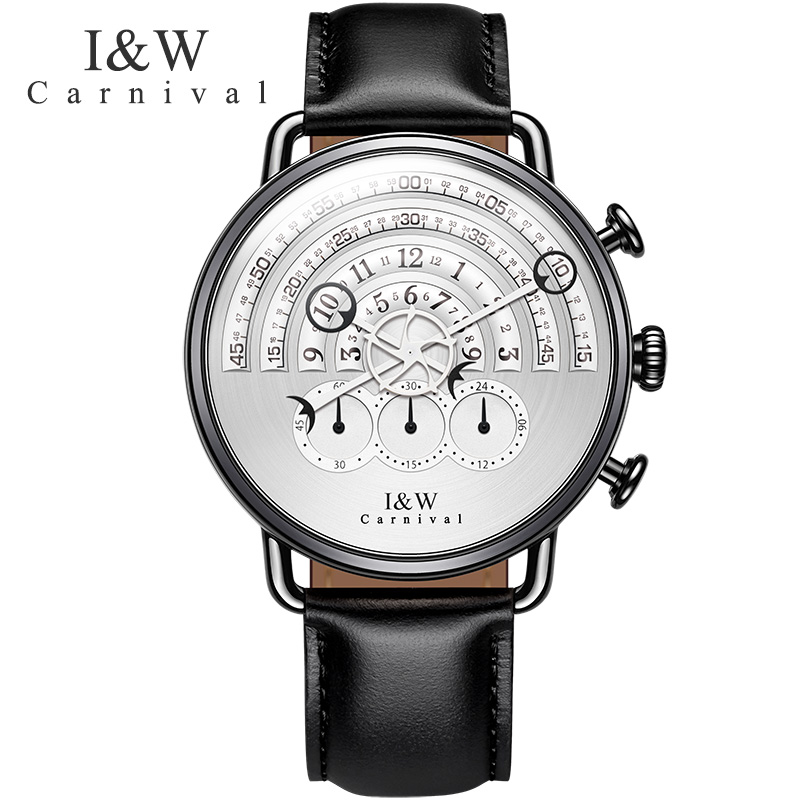 Carnival Quartz Watch Men Waterproof Sapphire Stainless Steel Clock Leather Strap Stop Wristwatch Relogio Masculino цена и фото