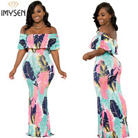 IMYSEN 2018 Summer Autumn Fashion Sexy Leaf Print Dress Straight Collar Off Shoulder Maxi Dresses Empire