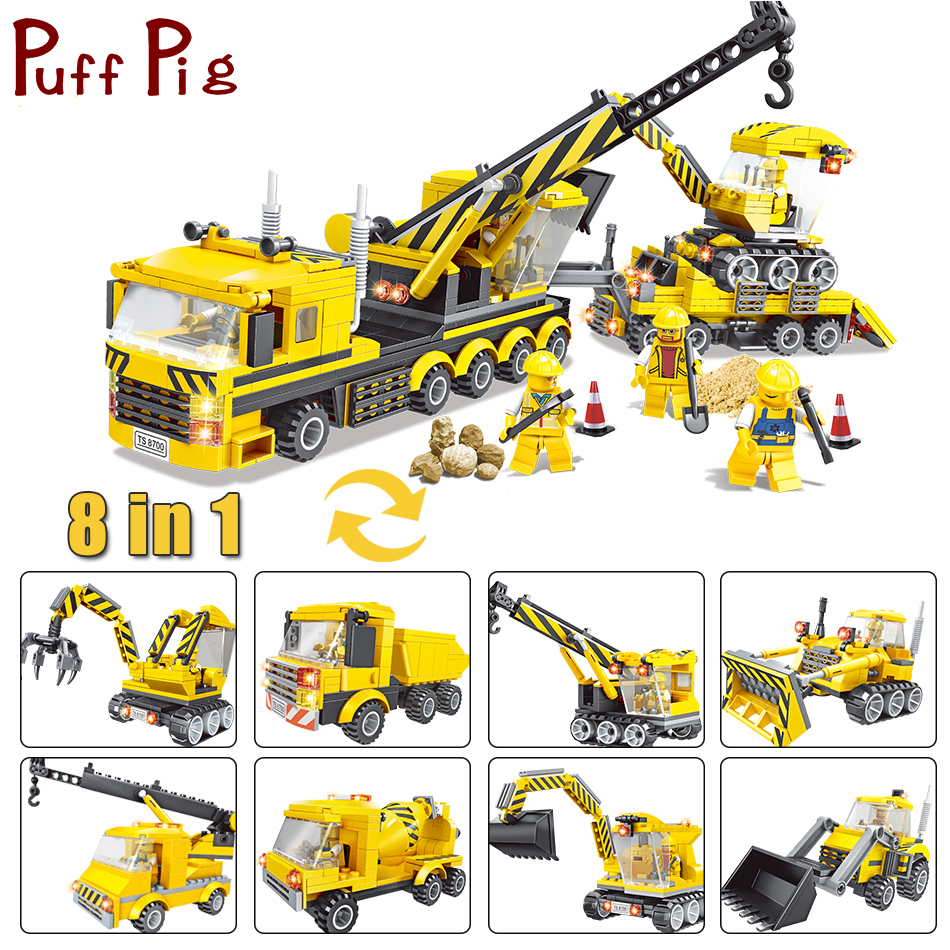 где купить Engineering Series Excavator Bulldozer Forklift Truck Model Building Block Compatible Legoed City Construction Toys For Kids Boy дешево