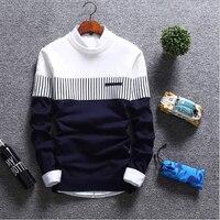 Мужские свитера 2018 осень зима новая уличная мода сшивание мужской трикотаж теплый корейский Тонкий Круглый Мужской Воротник Одежда