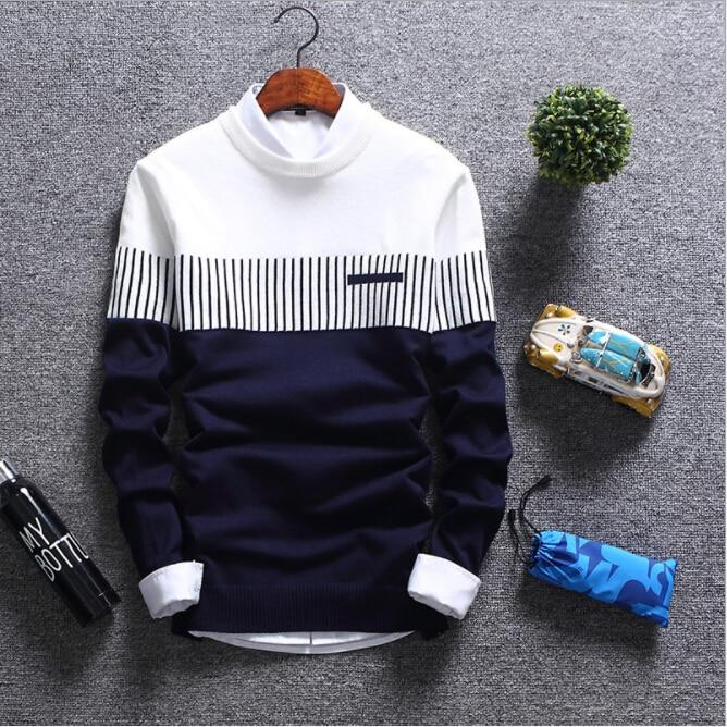 Men's Sweaters 2018 Autumn Winter New Streetwear Fashion Stitching Male Knitwear Warm Korean Slim Round Collar Men Clothing