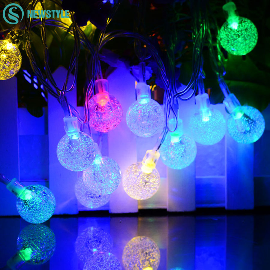 Solar Outdoor Lighting 6M 30LEDs Crystal Ball Flashing Waterproof LED String Fairy Lights For Garden Home Decoration Solar Lamps