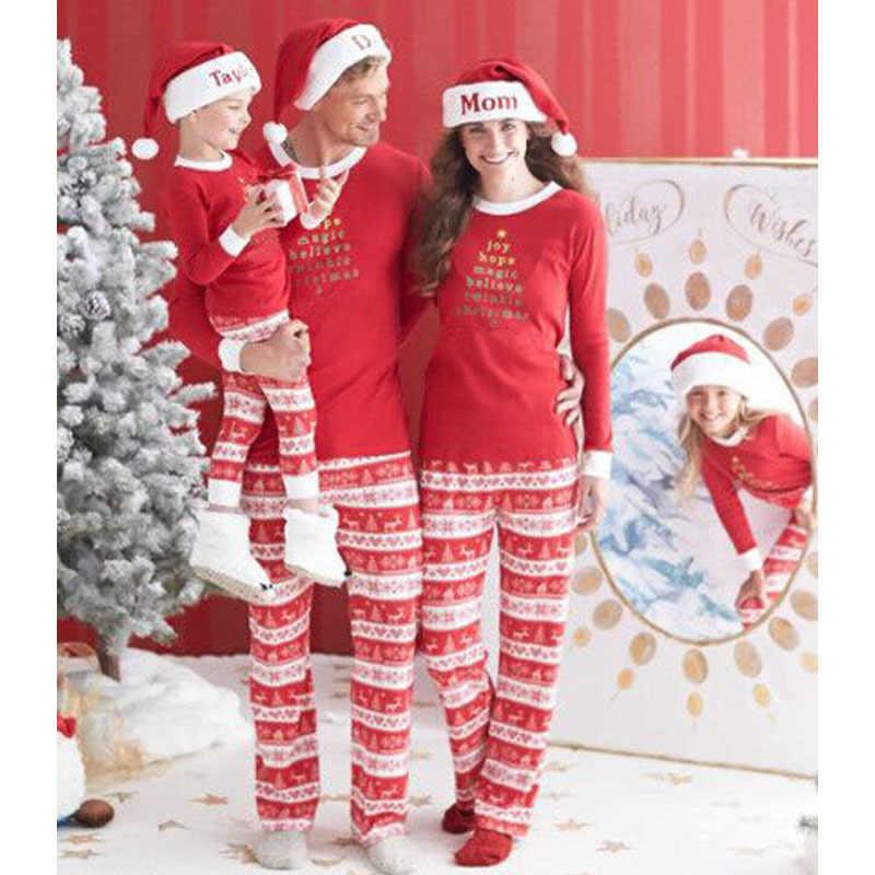 ใหม่สำหรับครอบครัวผ้าฝ้ายผ้าฝ้ายชุดนอนคริสต์มาสครอบครัวดูชุดทารกน่ารักเสื้อผ้า 2Pcs 2019 ชุดคริสต์มาส