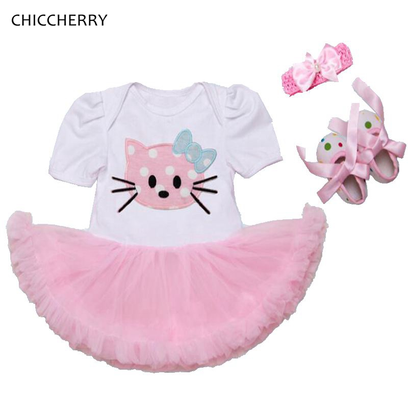 Hello Kitty Baby Girl Summer Clothes Lace Girls Dresses Headband Crib Shoes Newborn Tutu Sets Toddler Birthday Outfits Clothing summer 2017 leopard baby girl clothes newborn infant baby girls romper bodysuit headband 2pcs outfits toddler kids clothing set